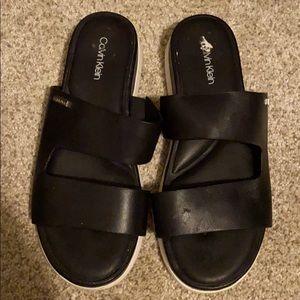 Black leather Calvin Klein sandals